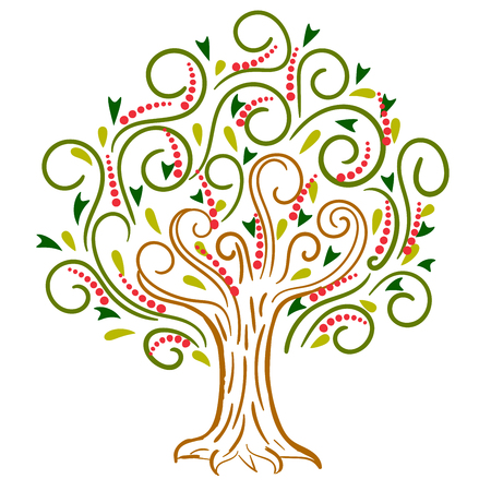 Cartoon curly apple tree isolated on white background. Vector illustration.