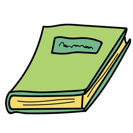 Livre linéaire de dessin animé doodle isolé sur fond blanc. Illustration vectorielle.