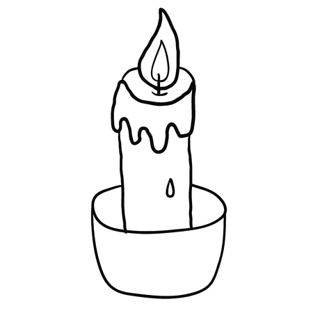 Cartoon doodle linear candle isolated on white background. Vector illus