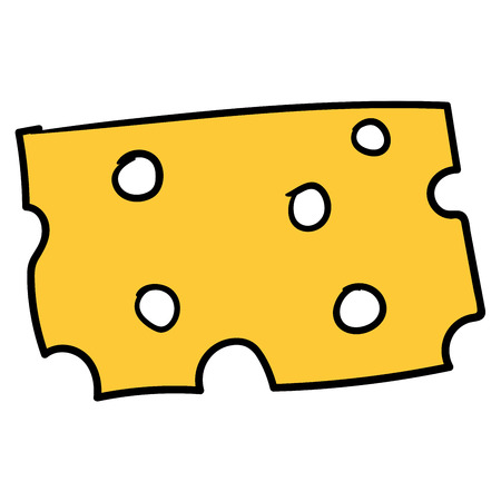 Cartoon cheese isolated on white background. Vector illustration.  イラスト・ベクター素材