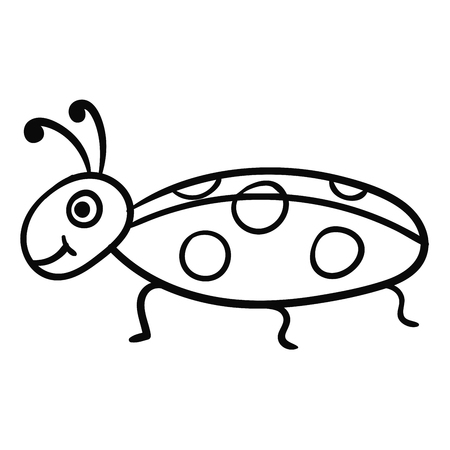Cute cartoon doodle linear bug isolated on white background. Vector illustration. Vettoriali