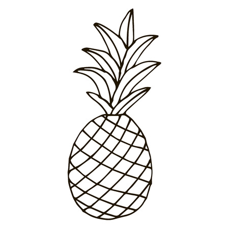 Pineapple isolated on white background. Cartoon pineapple. Vector illustration. Ilustração
