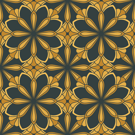 Abstract seamless pattern with mandala flower. Mosaic, tile. Floral background. Vector illustration. Vectores