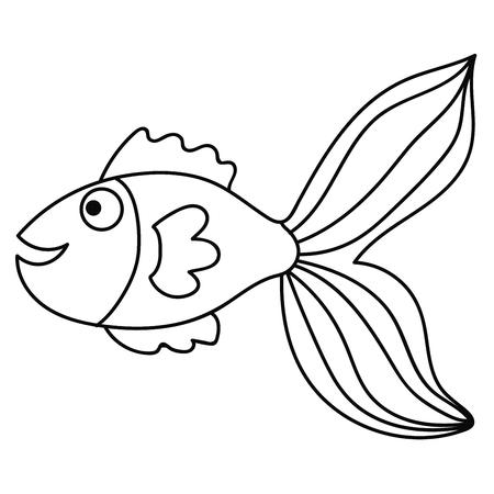 Happy thin line cute cartoon doodle fish. Hand drawn cheerful tropical aquarium animal. Icon isolated on white background.