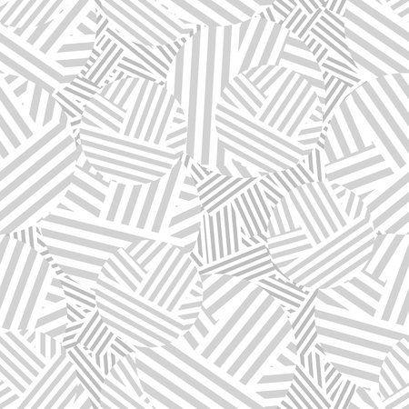 Abstract messy linear dot, circles, geometrical seamless pattern. Striped background. Vector illustration.