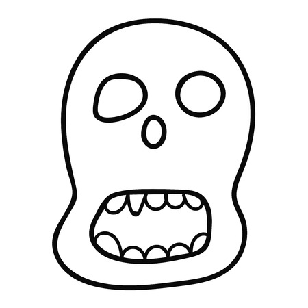 Cartoon doodle linear mask isolated on white background. Vector illustration.