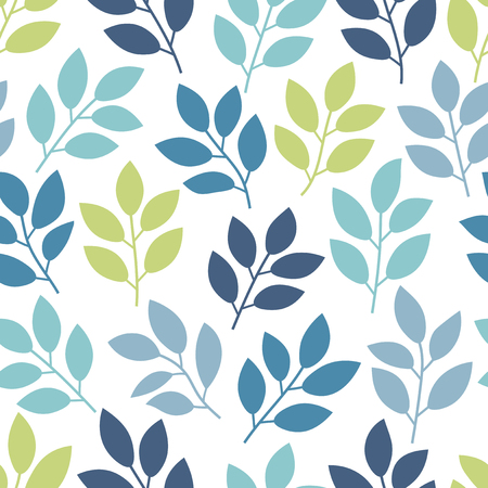 Floral seamless pattern with branches and leaves. Vector illustration.