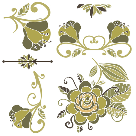 Colorful floral collection of design elements. Paradise fantasy flower isolated on white. Tropical doodle floral divider, border, frame. Vector illustration.