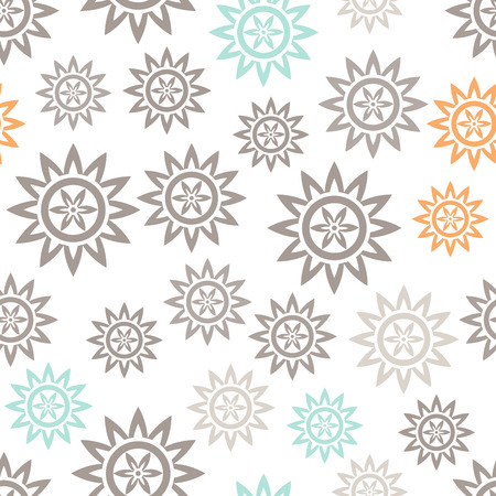 Abstract cute seamless pattern with colorful chaotic mandala and stars on white. Infinity geometric pattern. Vector illustration.