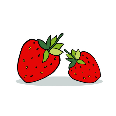 Cartoon strawberry with shadow isolated on white background.