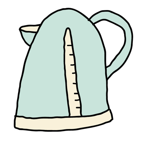 Cartoon doodle linear kettle, teapot isolated on white background. Vector illustration.