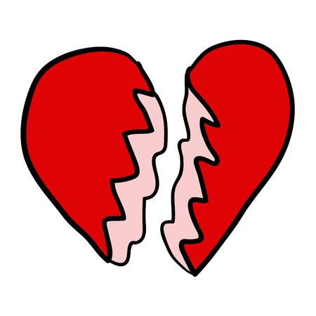 Cartoon doodle linear broken heart isolated on white background. Vector illustration.