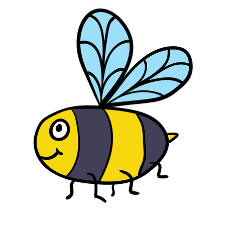 Cute cartoon doodle linear bee isolated on white background. Vector illustration. Çizim