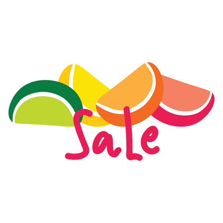 Logo of citrus slices with the word sale 矢量图像