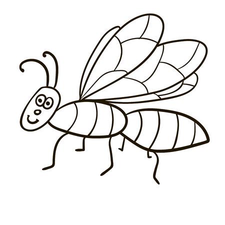 Cartoon doodle linear midge, fly isolated on white background. Vector illustration. Illustration