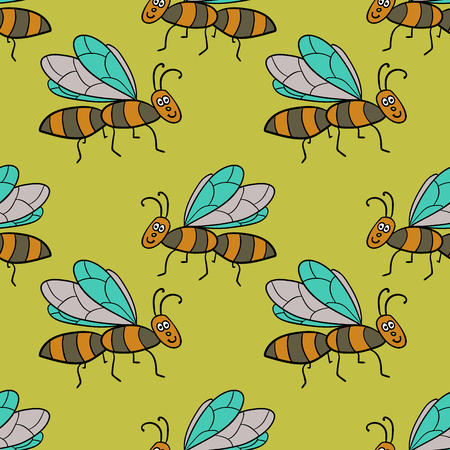 Seamless pattern with cartoon doodle linear midge, fly. Childlike insect background. Vector illustration.
