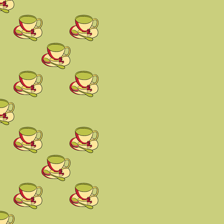 Card with tea pattern. Cup of tea on a saucer with a teaspoon and sugar slices. Cute background.