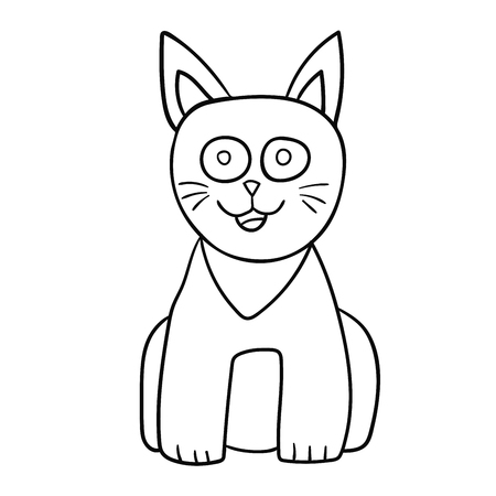 Cartoon  doodle cat isolated on white background. Vector illustration. Ilustração