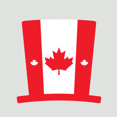 Canada Day hat, First of July hat isolated on grey background. Dominion Day, 1 July, Icon. Vector illustration.
