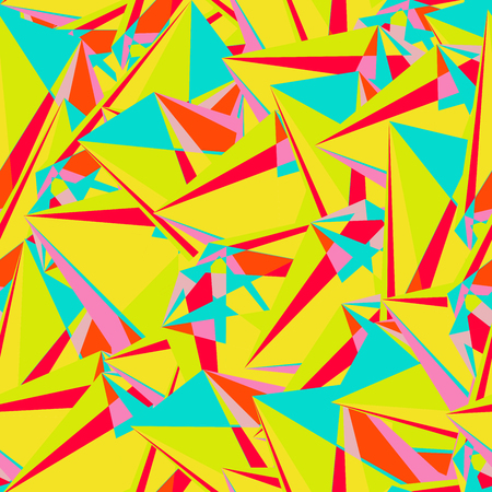 Abstract seamless pattern with colorful chaotic triangles, polygons. Infinity triangular messy geometric pattern. Vector illustration.