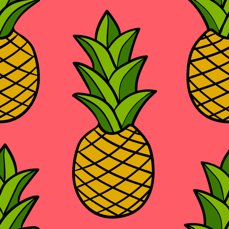 Cartoon doodle pineapple seamless pattern. Hand drawn fruit background. Vector illustration.