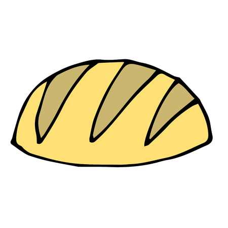 Cartoon doodle linear white bread isolated on white background. Vector illustration.