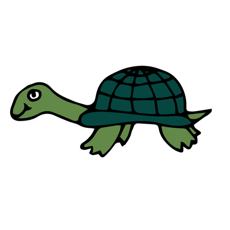 Cartoon doodle linear turtle isolated on white background. Vector illustration. Vettoriali