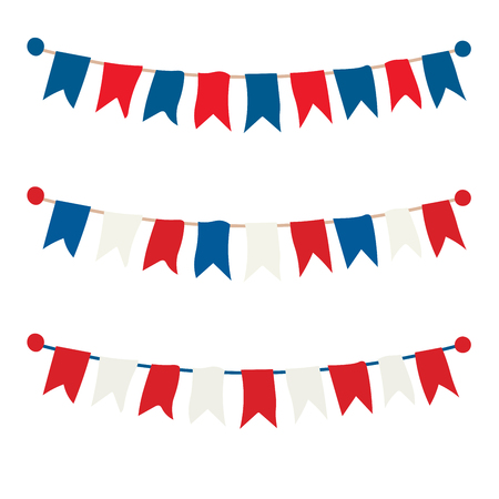Multicolored bright buntings garlands isolated on white background Imagens - 124839081