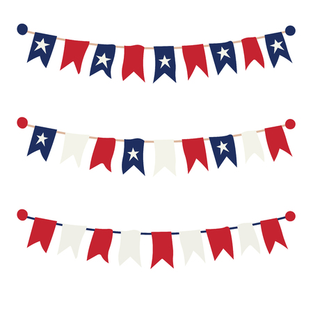 Multicolored bright buntings garlands isolated on white background Imagens - 124839084