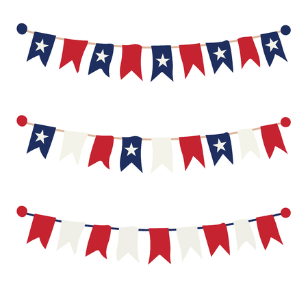 Multicolored bright buntings garlands isolated on white background Imagens - 124839085