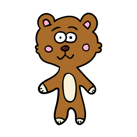 Cute doodle teddy bear isolated on white background. Vector illustration.