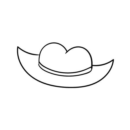 Cartoon doodle linear cowboy hat isolated on white background. Vector illustration. Illusztráció