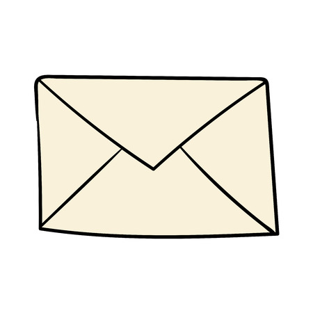 Cartoon doodle linear mail, letter isolated on white background. Vector illustration.