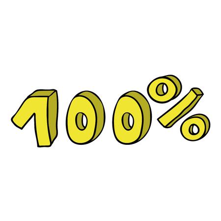 Dessin animé doodle 100 pour cent isolé sur fond blanc. Illustration vectorielle.