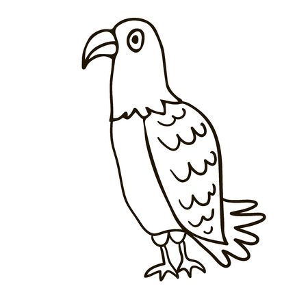 Cartoon doodle linear eagle isolated on white background. Vector illustration. Vectores