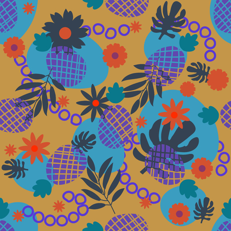 Cute tropical seamless pattern with pineapple, palm leaf, flower, stain, circle in gold, blue, violet, orange. Colorful background with exotic fruits, palm foliage for design. Vector illustration.