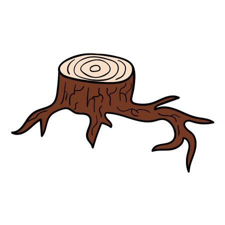 Cartoon doodle linear stump isolated on white background. Vector illustration. Illustration