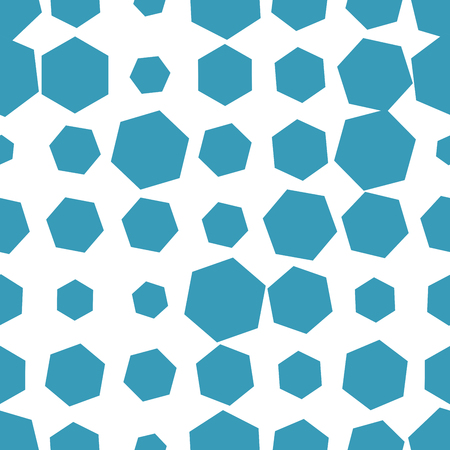 Colorful abstract halftone seamless pattern with hexagon, geometric shapes. Vector illustration.
