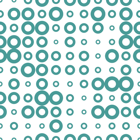 Abstract seamless pattern with grunge halftone dots, rings. Dotted texture, background. Polka dot infinity. Abstract geometrical pattern of round shape.Screen print. Vector illustration.