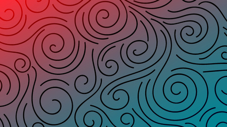 Colorful blurred background with thin line curls, swirls. Curly modern abstract gradient card. Business poster. Vector illustration. Ilustração