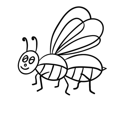 Cartoon doodle linear midge, fly isolated on white background. Vector illustration. Stock Vector - 118399029