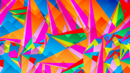 Abstract card with colorful chaotic triangles, polygons. Infinity triangular messy geometric poster. Vector illustration.