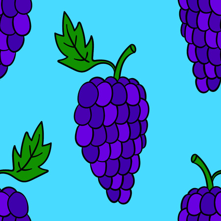 Seamless pattern with cartoon doodle linear grapes. Fruit background. Vector illustration.