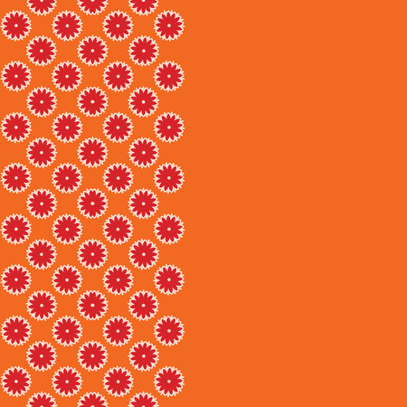 Orange floral background. Infinity border with flowers. Vector illustration.