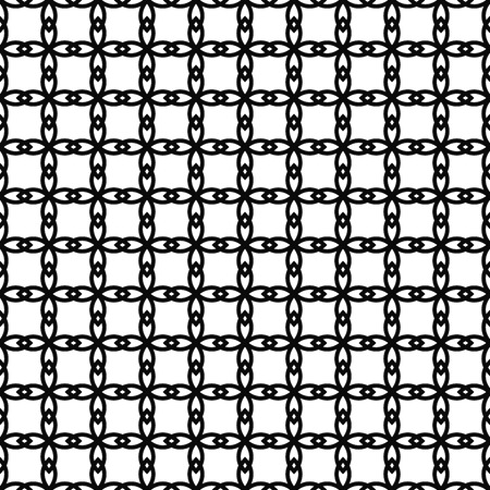 Black and white seamless pattern with lace, grid, thin line geometric shapes, texture infinity. Abstract geometrical background. Vector illustration.