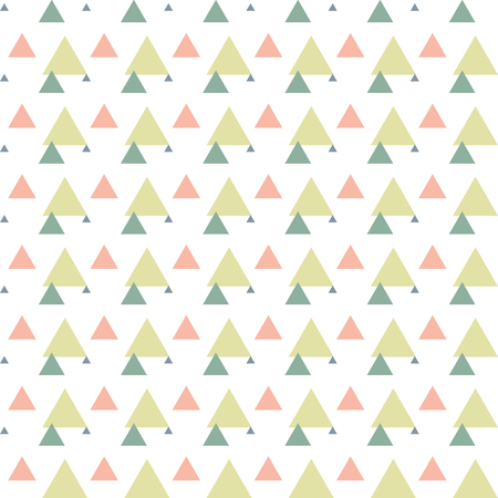 Triangular green, pink, blue, white geometric seamless pattern. Abstract geometrical background of triangle, delta, trigon. Modern stylish texture. Repeating tiles from triangles. Vector.