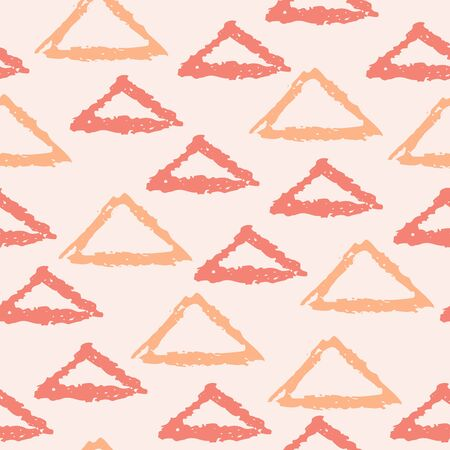Seamless pattern with hand drawn grunge linear triangles, triangular shapes. Geometrical background. Vector illustration.