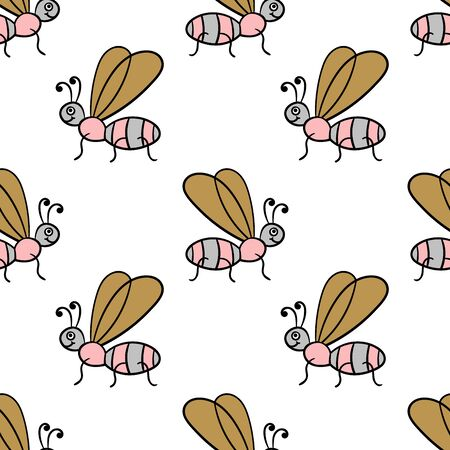Seamless pattern with cartoon doodle linear midge, fly. Childlike insect background. Vector illustration. Stock Vector - 125892681