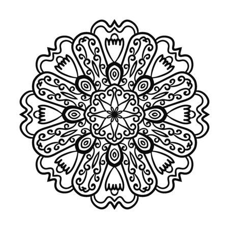 Outline Mandala. Ornamental round doodle flower isolated on white background. Geometric circle element. Vector illustration.