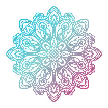 Flower mandala. Vintage decorative element. Ornamental round doodle flower isolated on white background. Geometric circle element. Vector illustration. Illustration